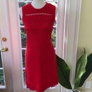 J Crew Knit Red Sweater Dress Size L NWOT
